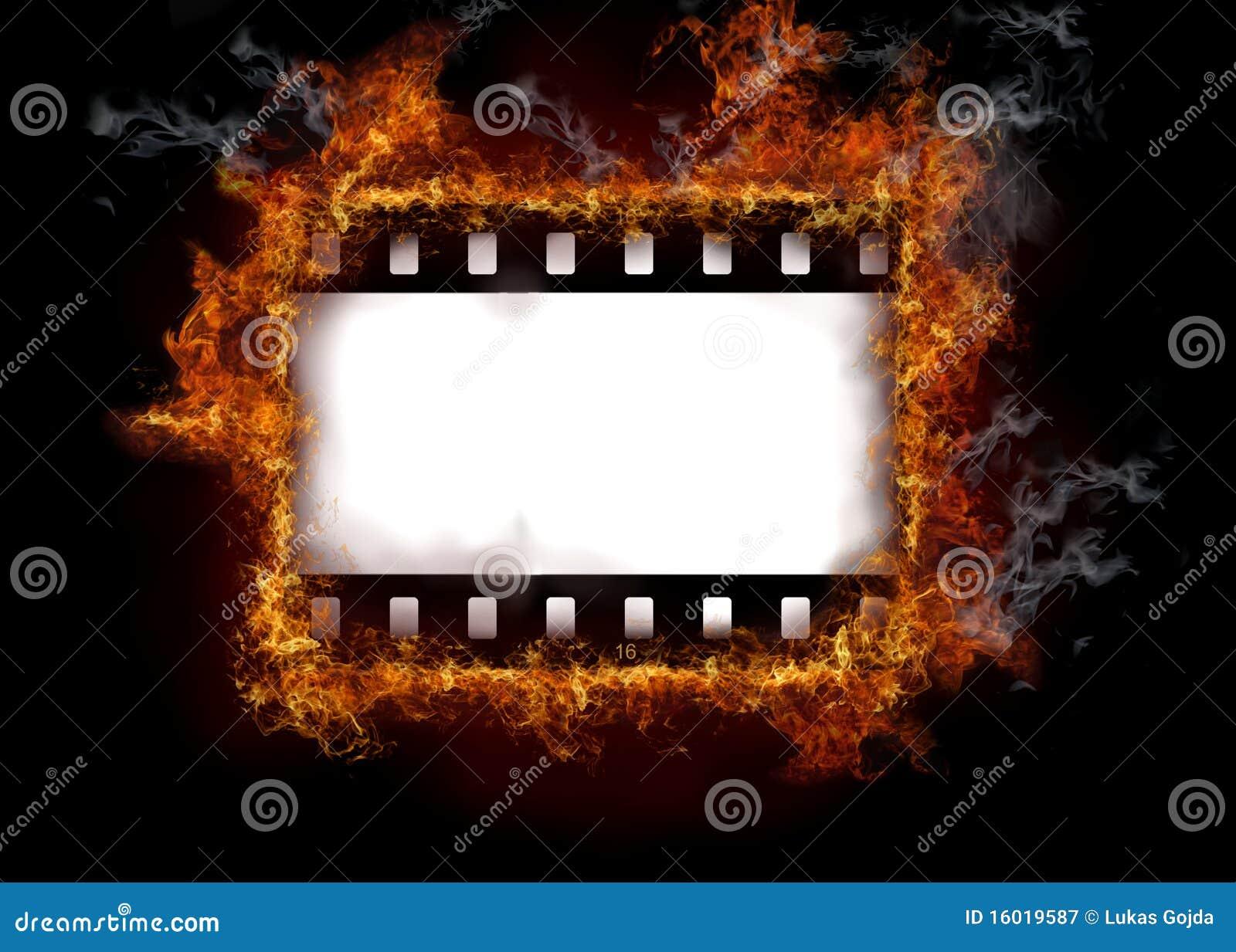 Burning film strip stock illustration  Illustration of