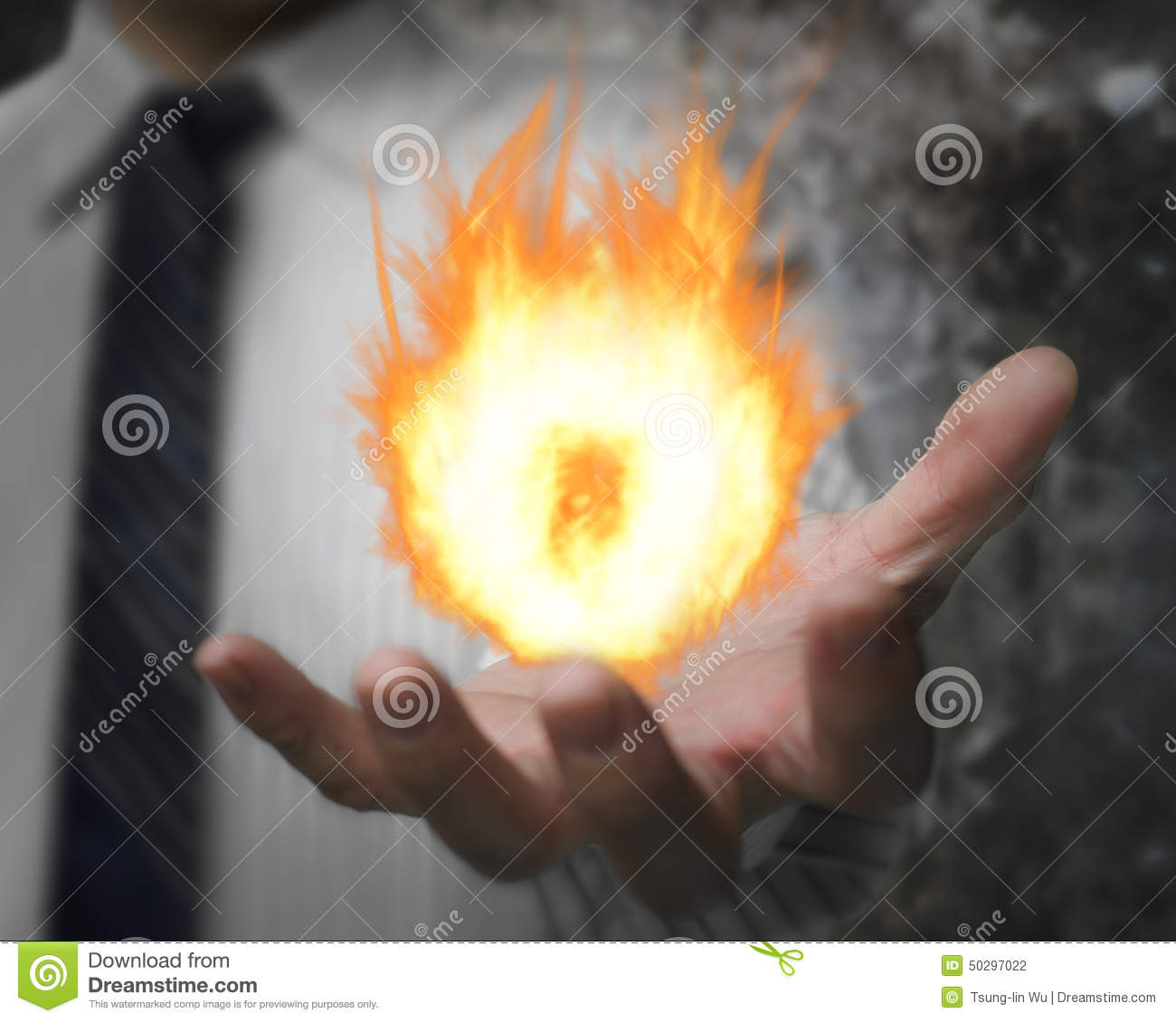 Burning Fire Ball In Mans Hand Stock Photography