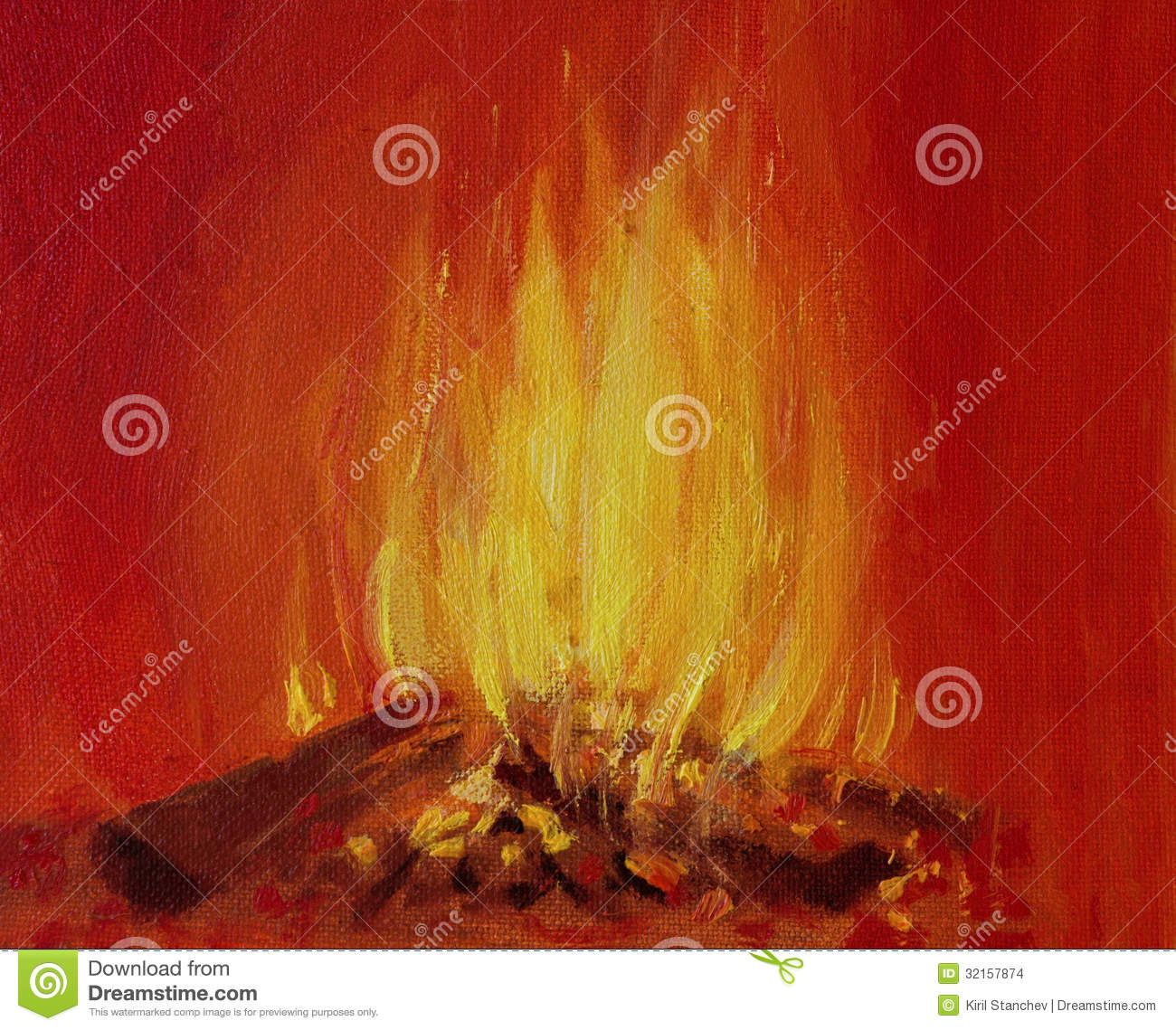 Burning Fire In A Fireplace Stock Illustration - Illustration ...