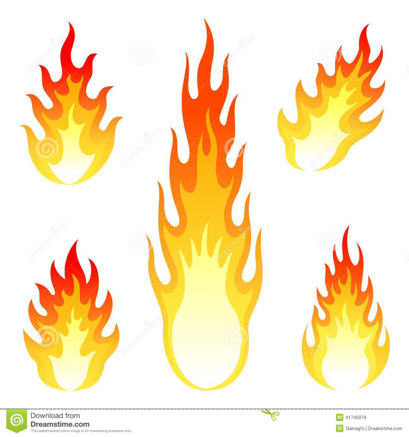 Burning Fire And Flame Vector Set Isolated On Stock Vector - Image ...