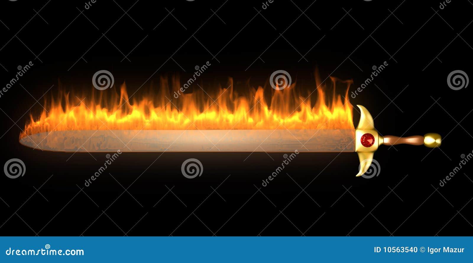 Burning Fire Sword Stock Photo Image 10563540