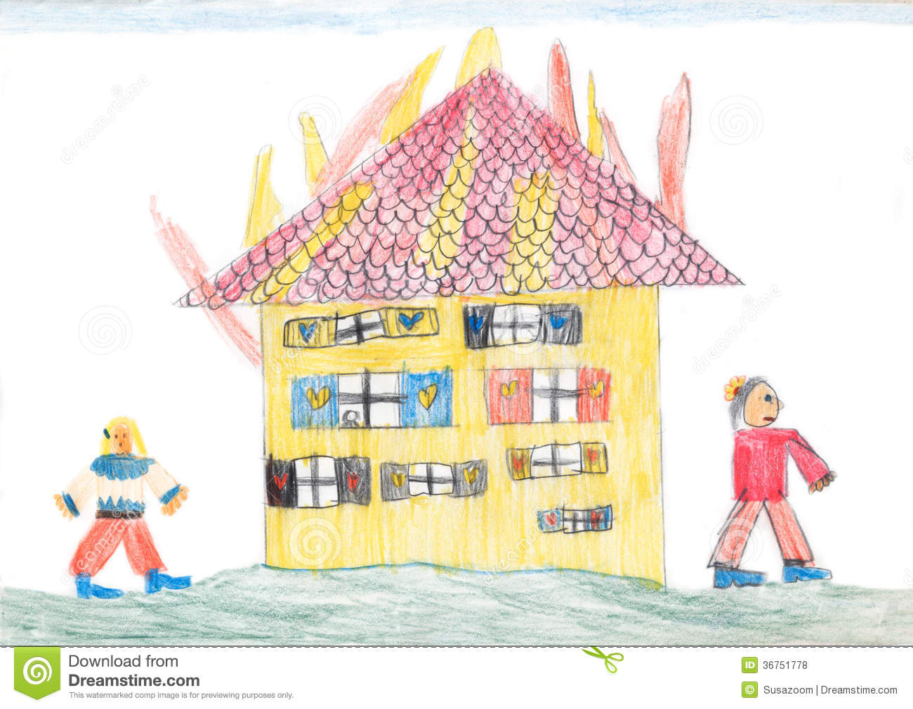 It is an image of Priceless Burning House Drawing