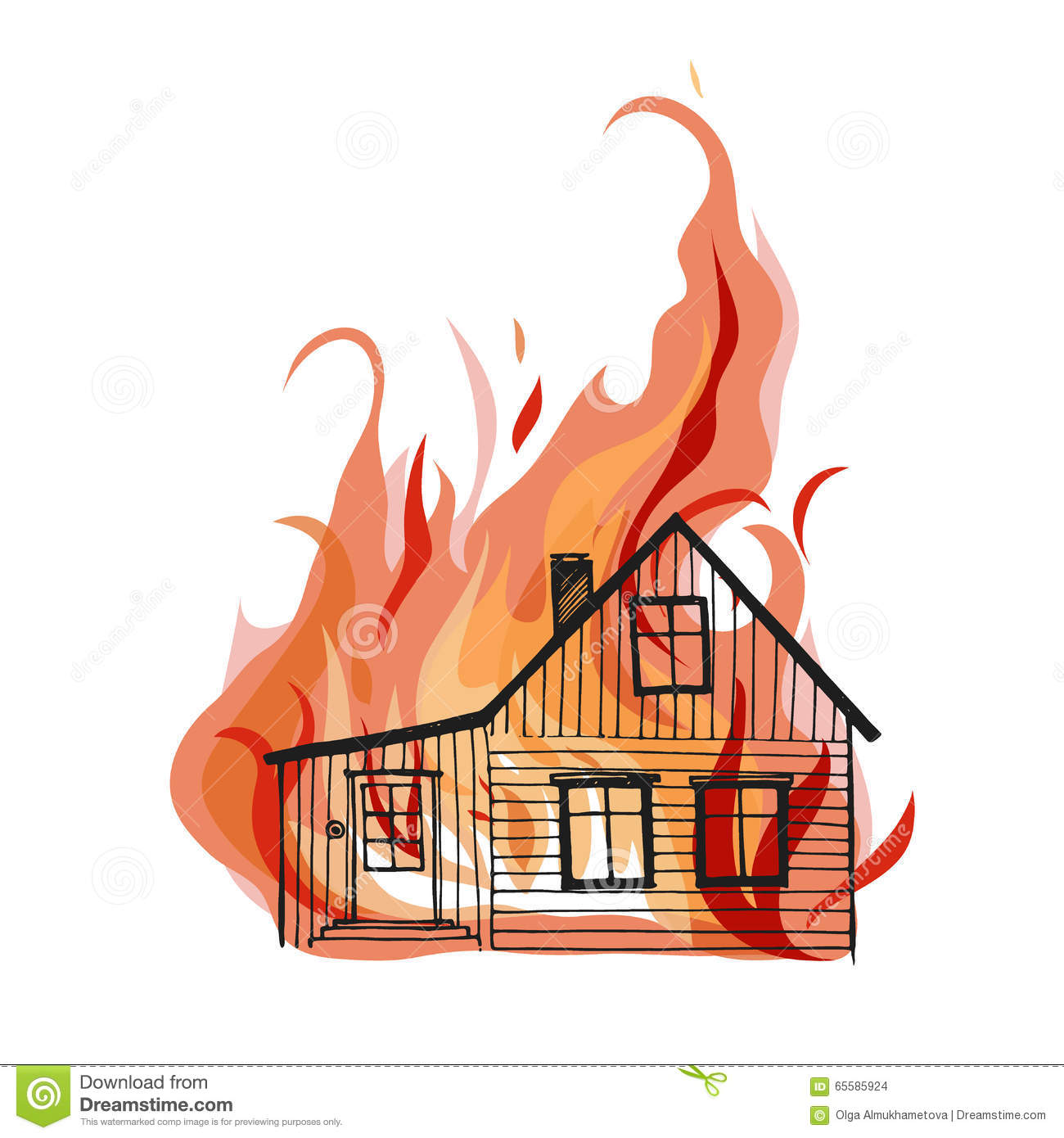 Burning House Isolated On White Bacground. Stock Vector ...