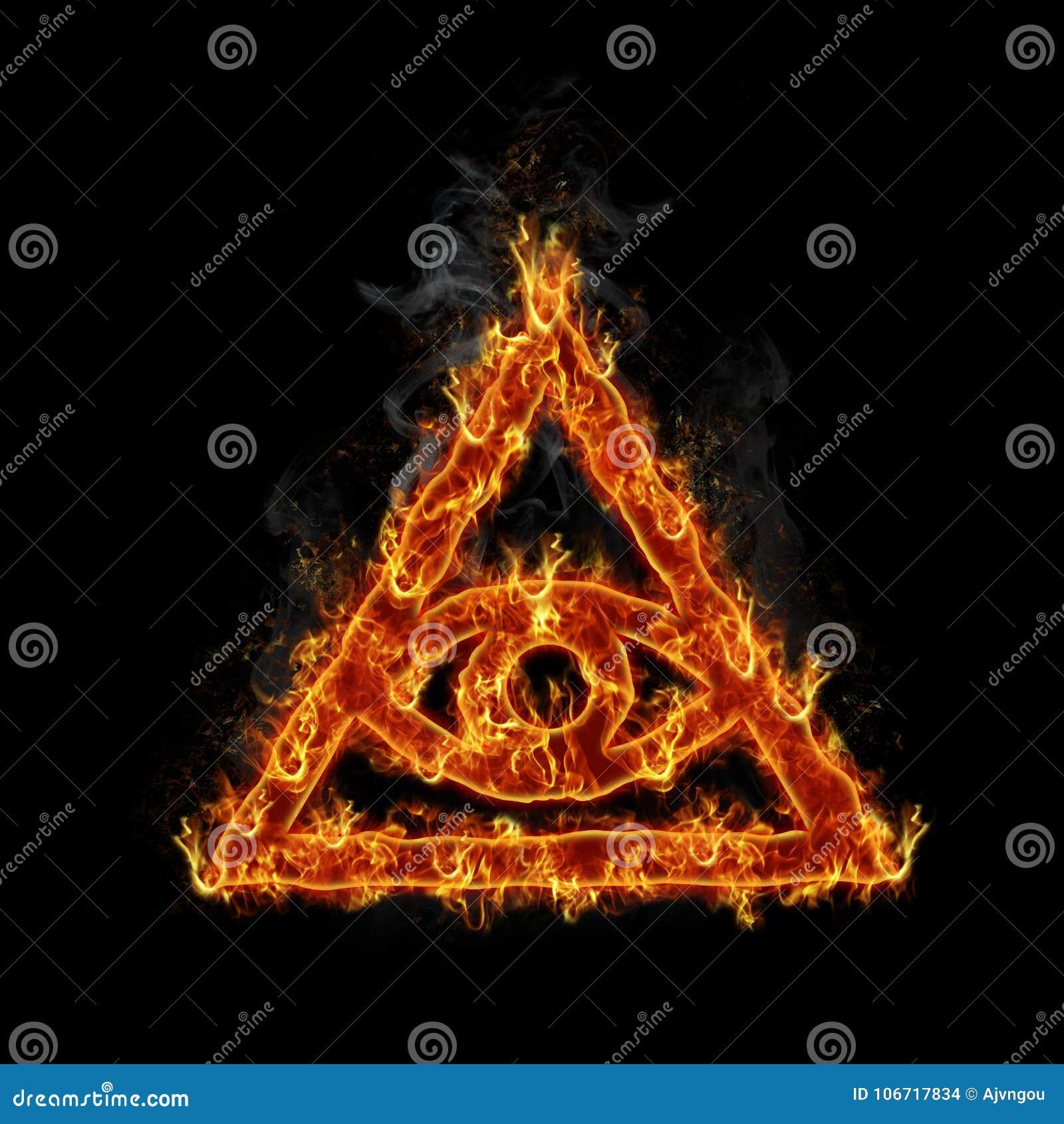 Burning Illuminati Symbol Stock Illustration Illustration Of