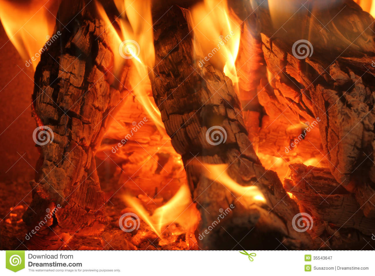 Burning Logs In A Chimney Fire Royalty Free Stock