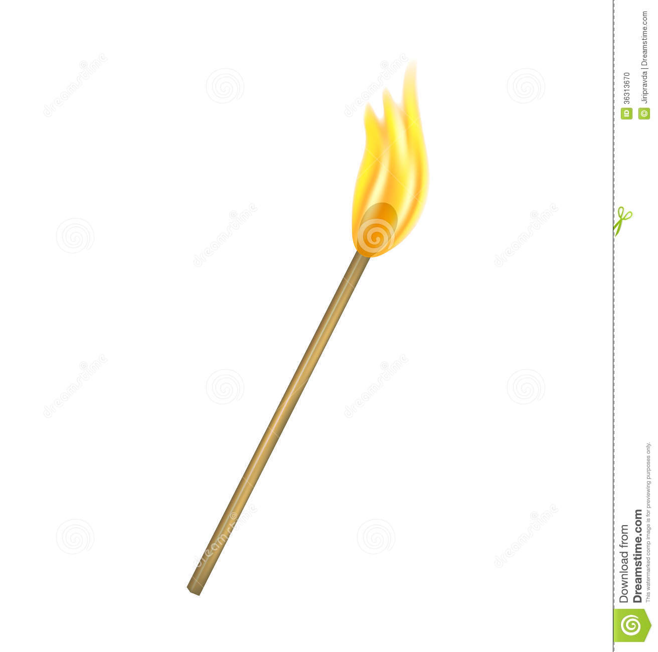 burning match isolated white background 36313670