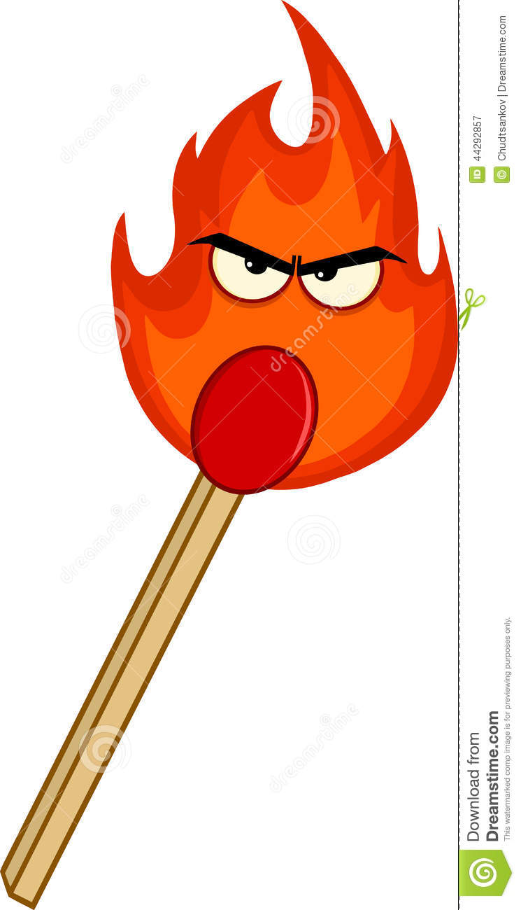 Simple kitchen design tool - Burning Match Stick With Evil Flame Stock Illustration