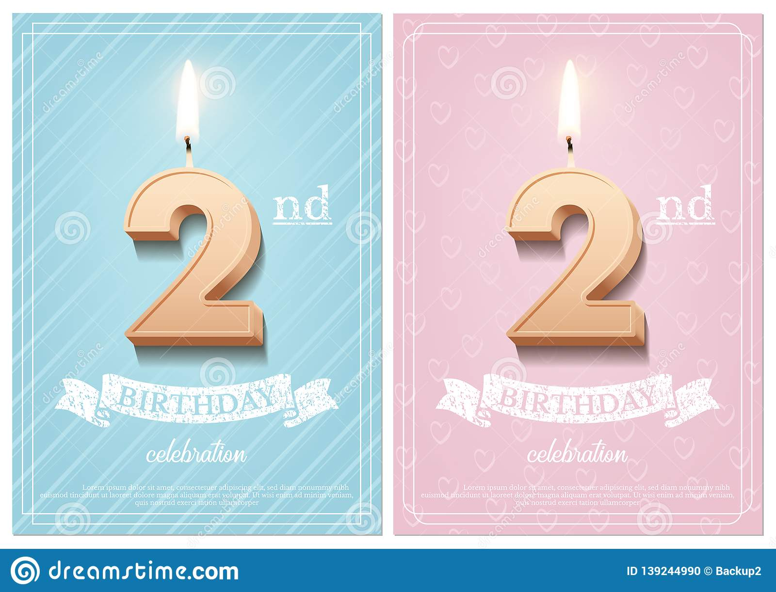 Burning Number 2 Birthday Candle With Vintage Ribbon And Celebration Text On Textured Blue Pink Backgrounds In Postcard Format