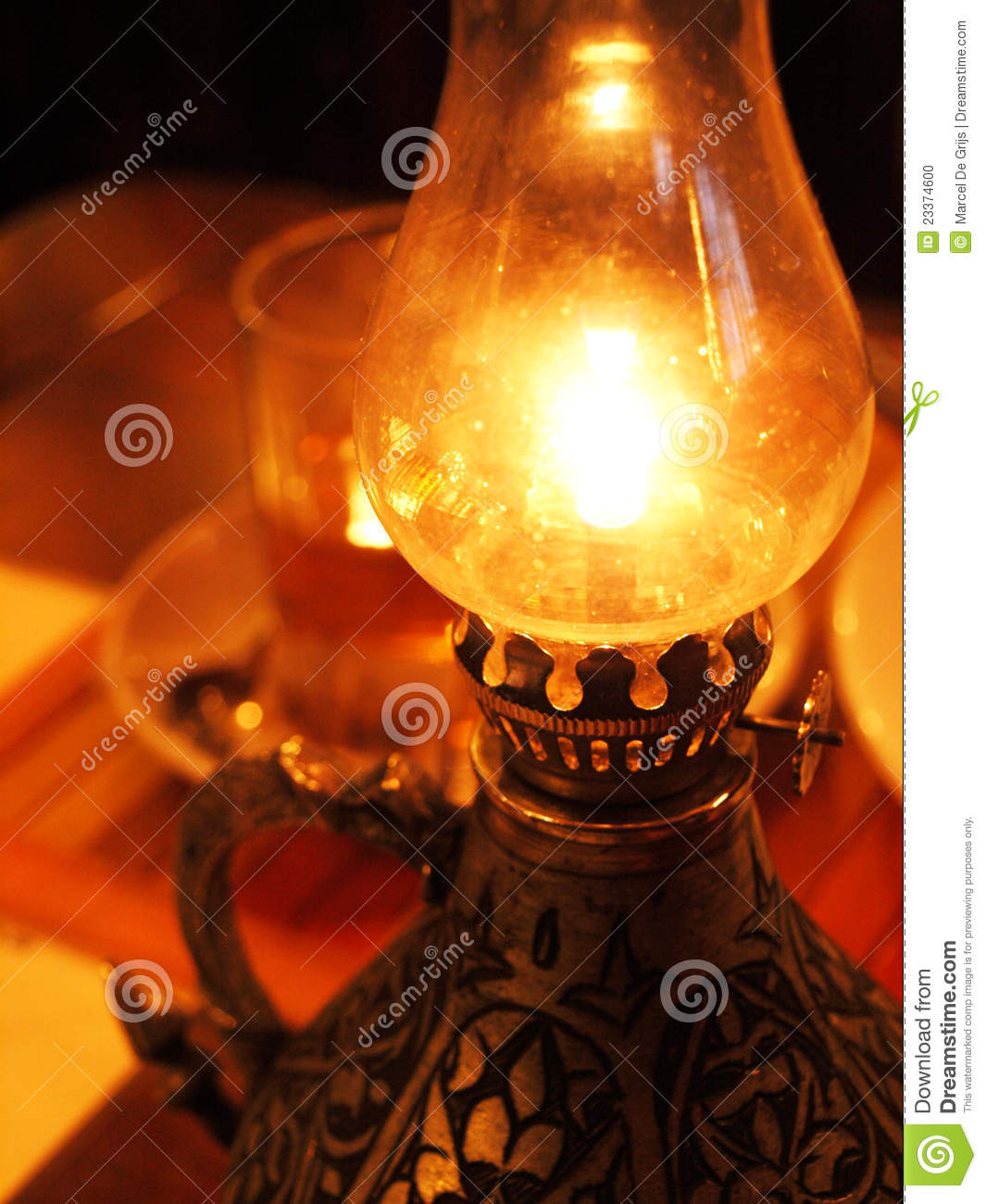 Burning oil lamp