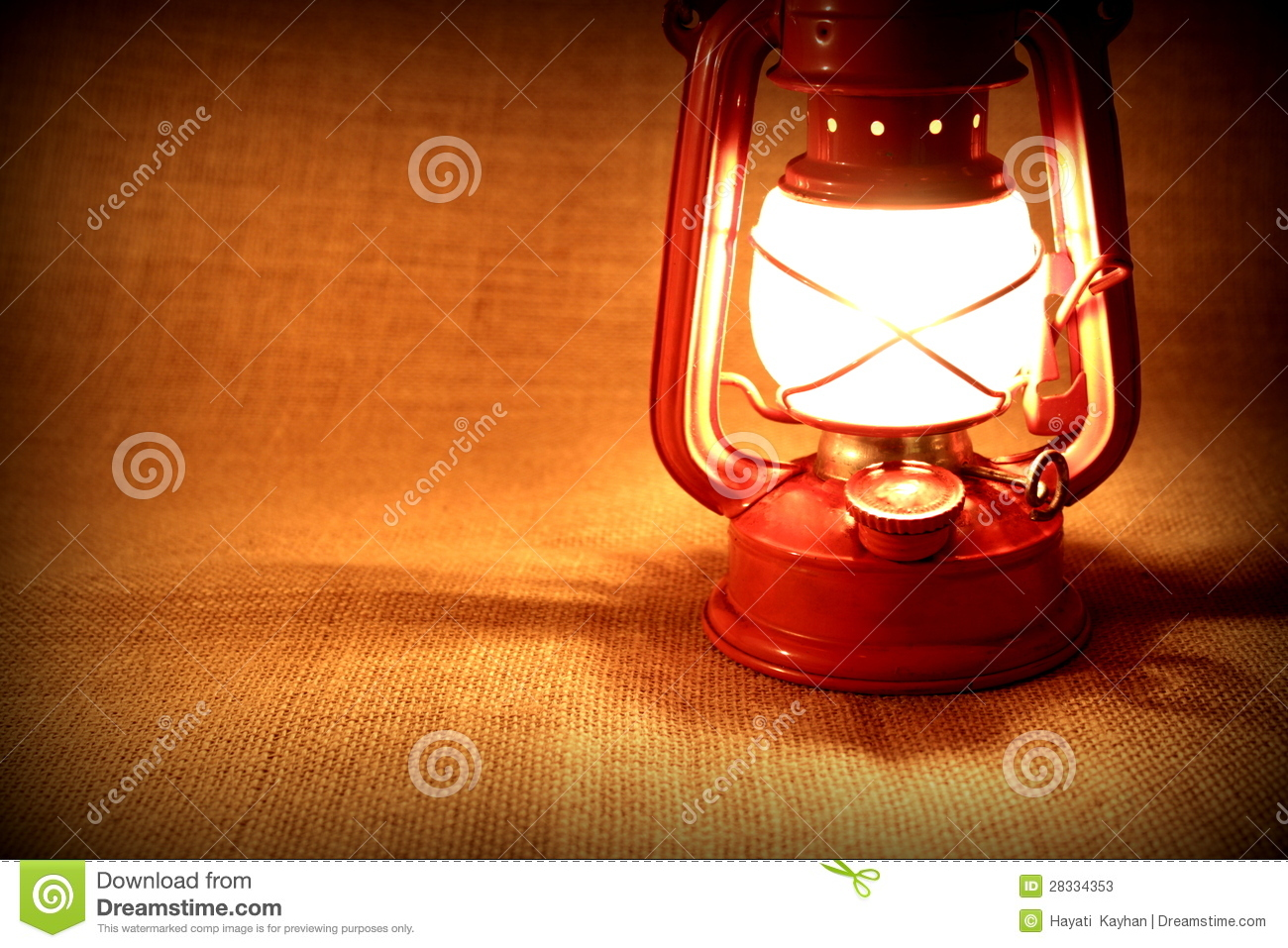 Burning Oil Lamp On Burlap. Vintage Concept Stock Photos - Image ...