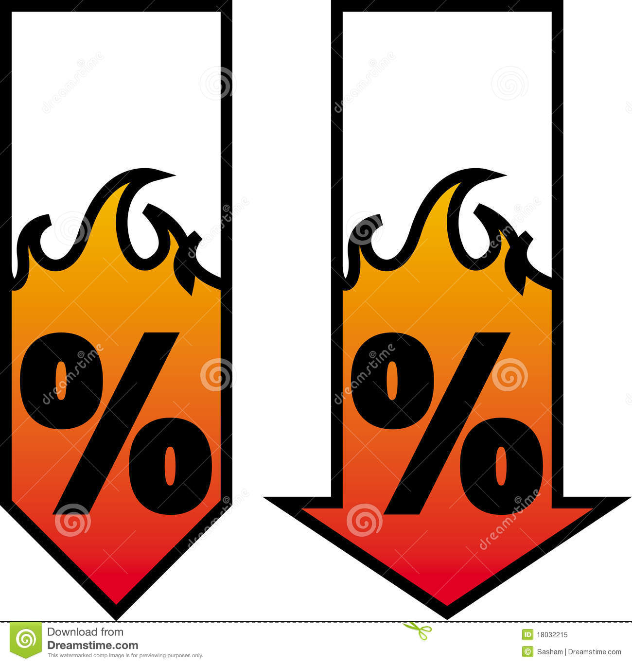 Burning sale. Vector