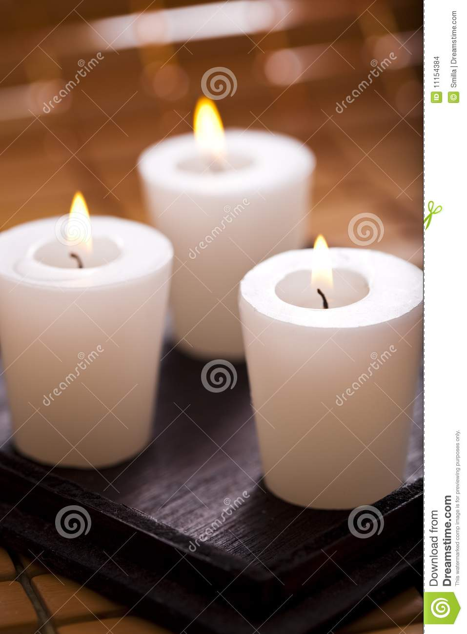 Burning scented candles for Spa smelling candles