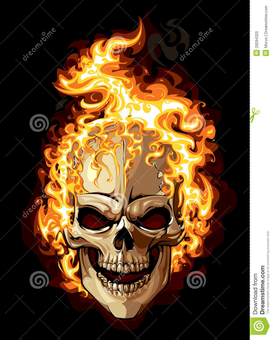 Burning skull on black background. Tattoo style. EPS 8 illustration.