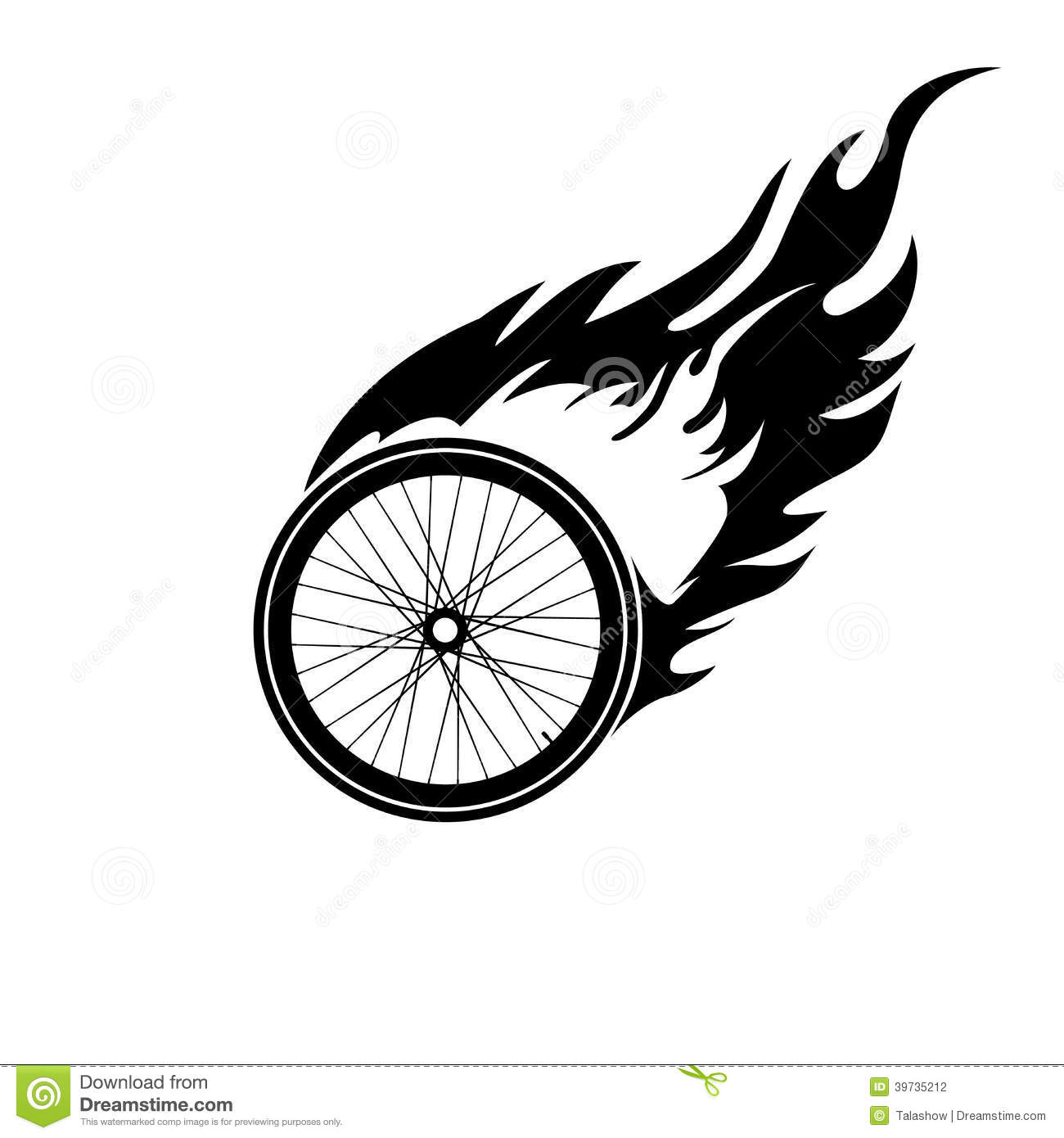 Burning Symbol Of A Bicycle Wheel Stock Vector Image