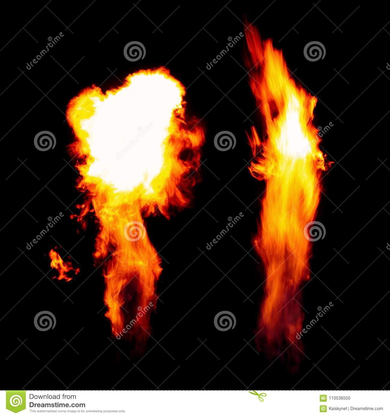 Burning torch, Flames in the dark isolated on black background