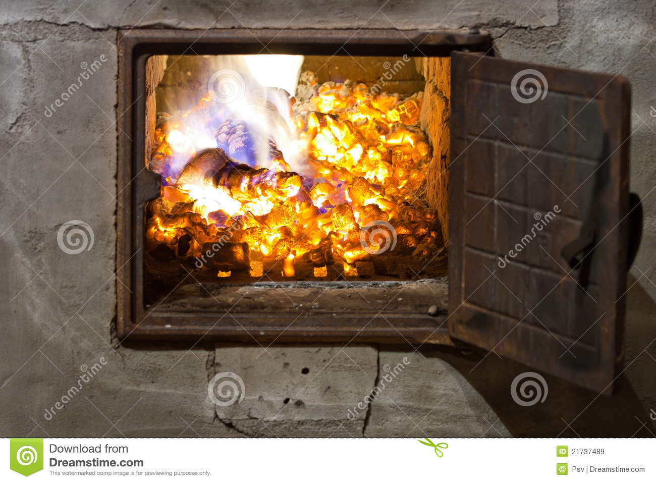 Red burning hot coals in stove royalty free stock image for Choosing a furnace