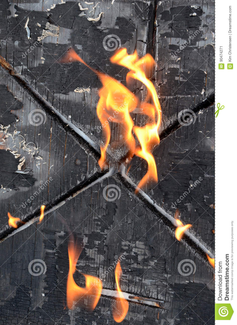 Burning X, A Burning Wood Surface Has By Coincidence Taken The Shape Of A  Burning St Andrew`s Cross.
