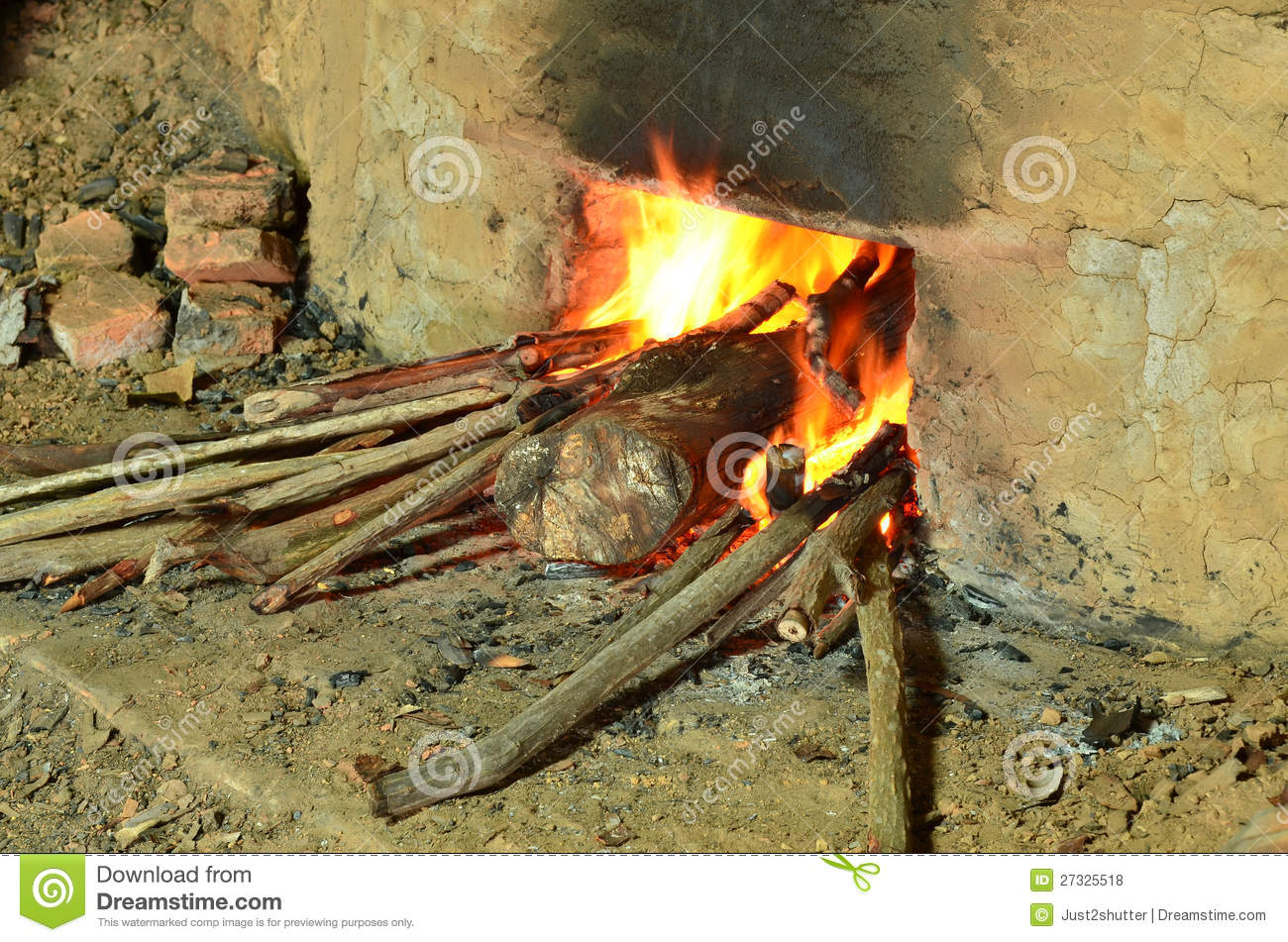 Burning wood to make Charcoal