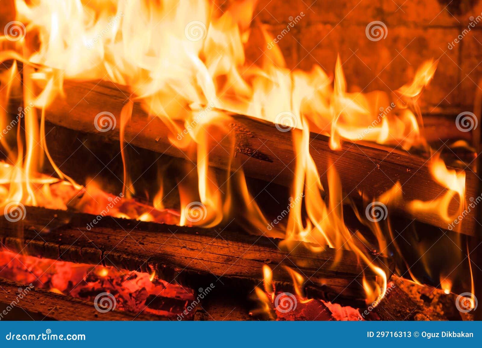 burning woods ember in fireplace stock photos image 29716313