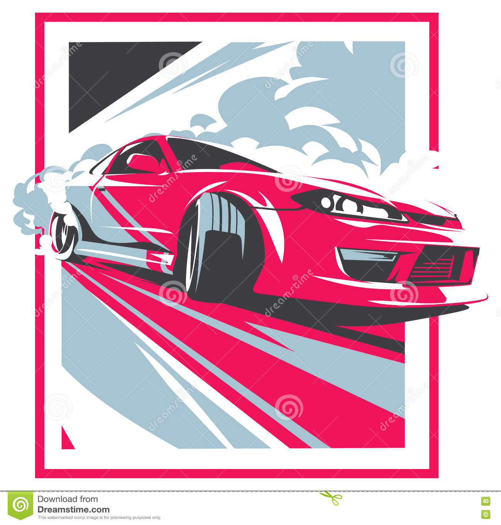 Burnout Car, Japanese Drift Sport, Street Racing Cartoon