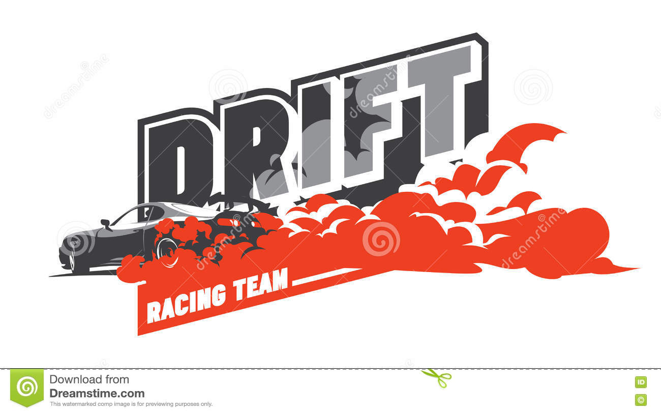 Burnout Car Japanese Drift Sport Street Racing Stock Vector