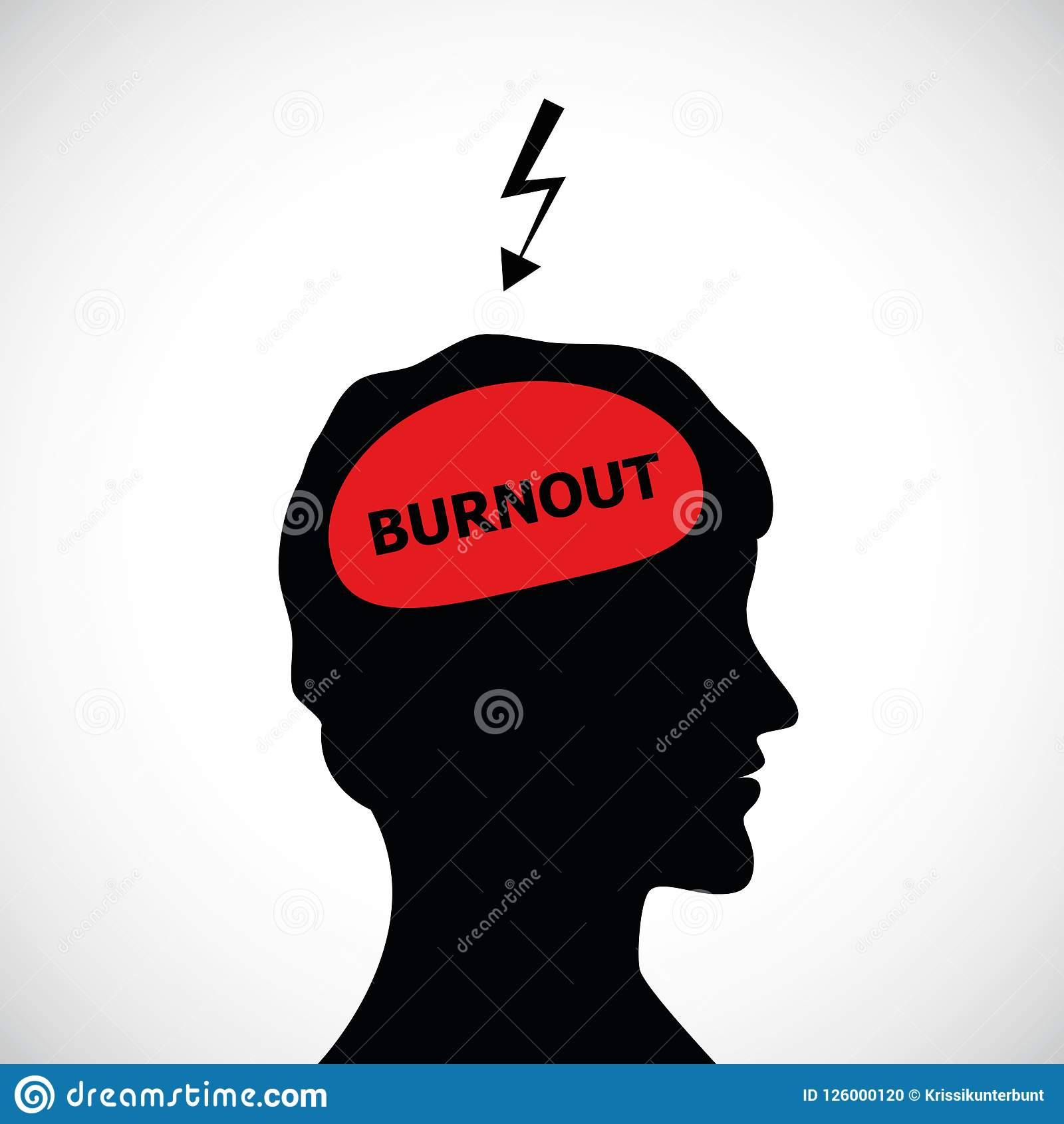 Burnout In Mans Head Silhouette Concept Of Stress ...