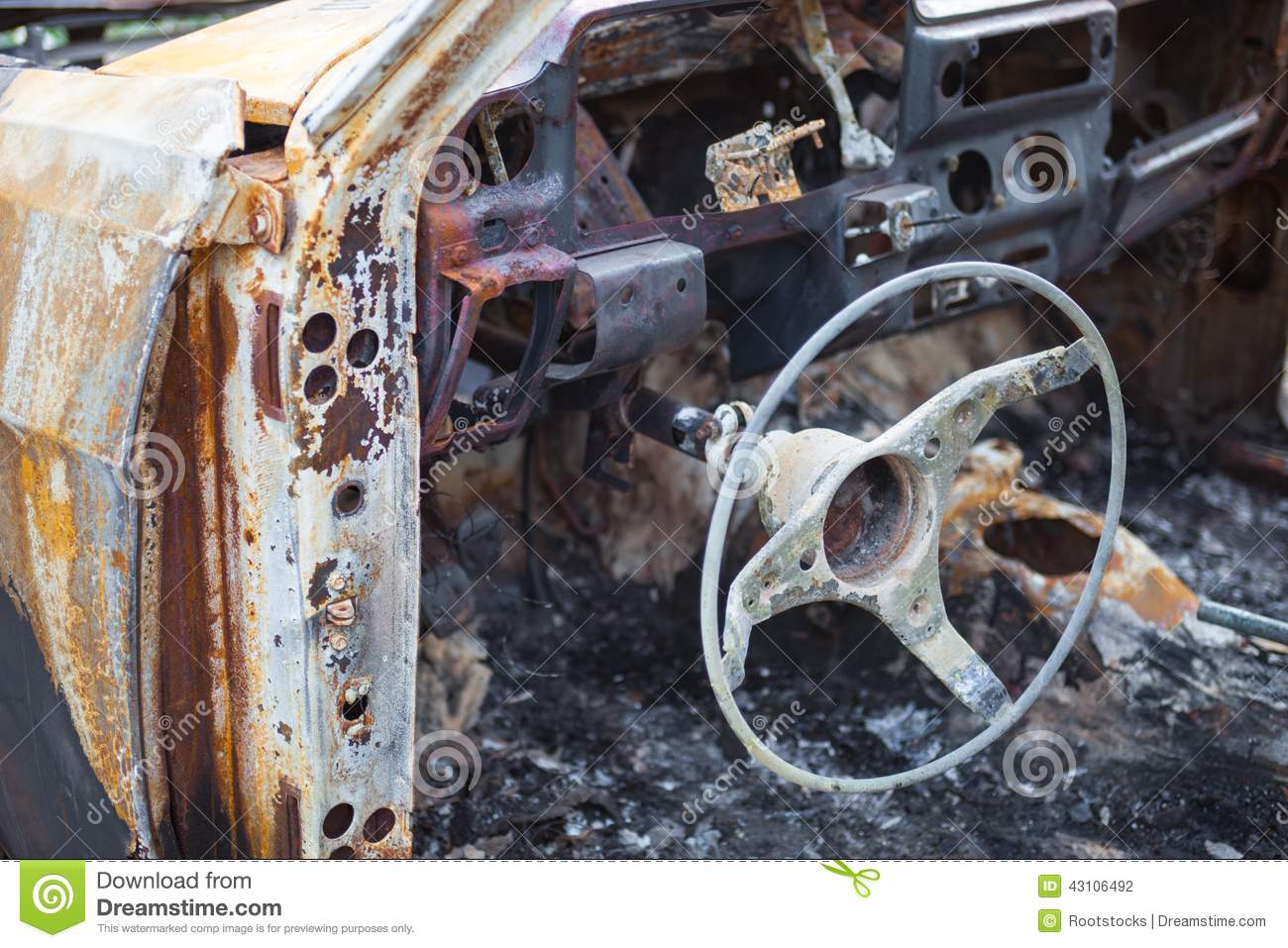 burnt car interior with steering wheel after the accident stock image 41498461. Black Bedroom Furniture Sets. Home Design Ideas