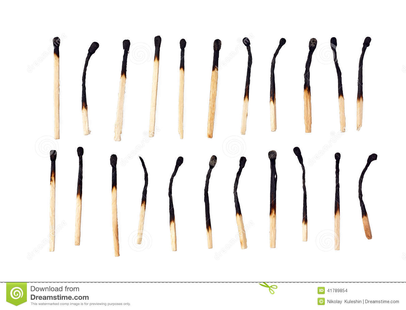 Burnt match matches isolated white background wooden matches 41789854