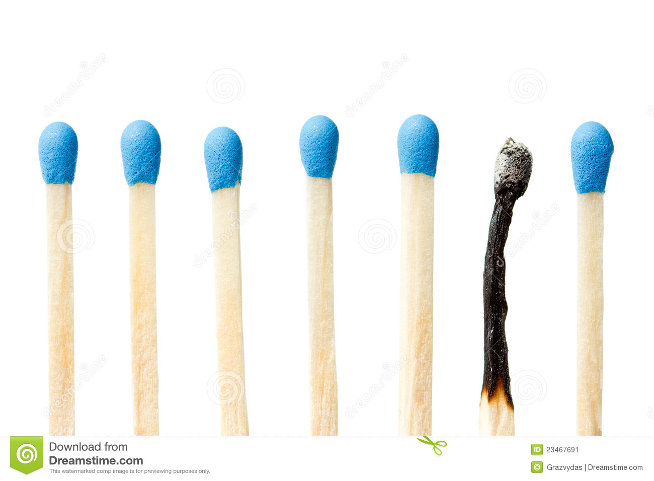 burnt match and a whole blue matches stock image image of thin