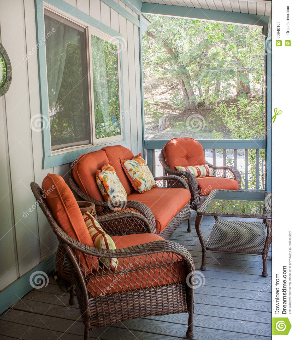 Orange Patio Chairs burnt orange patio furniture outside on the deck stock photo