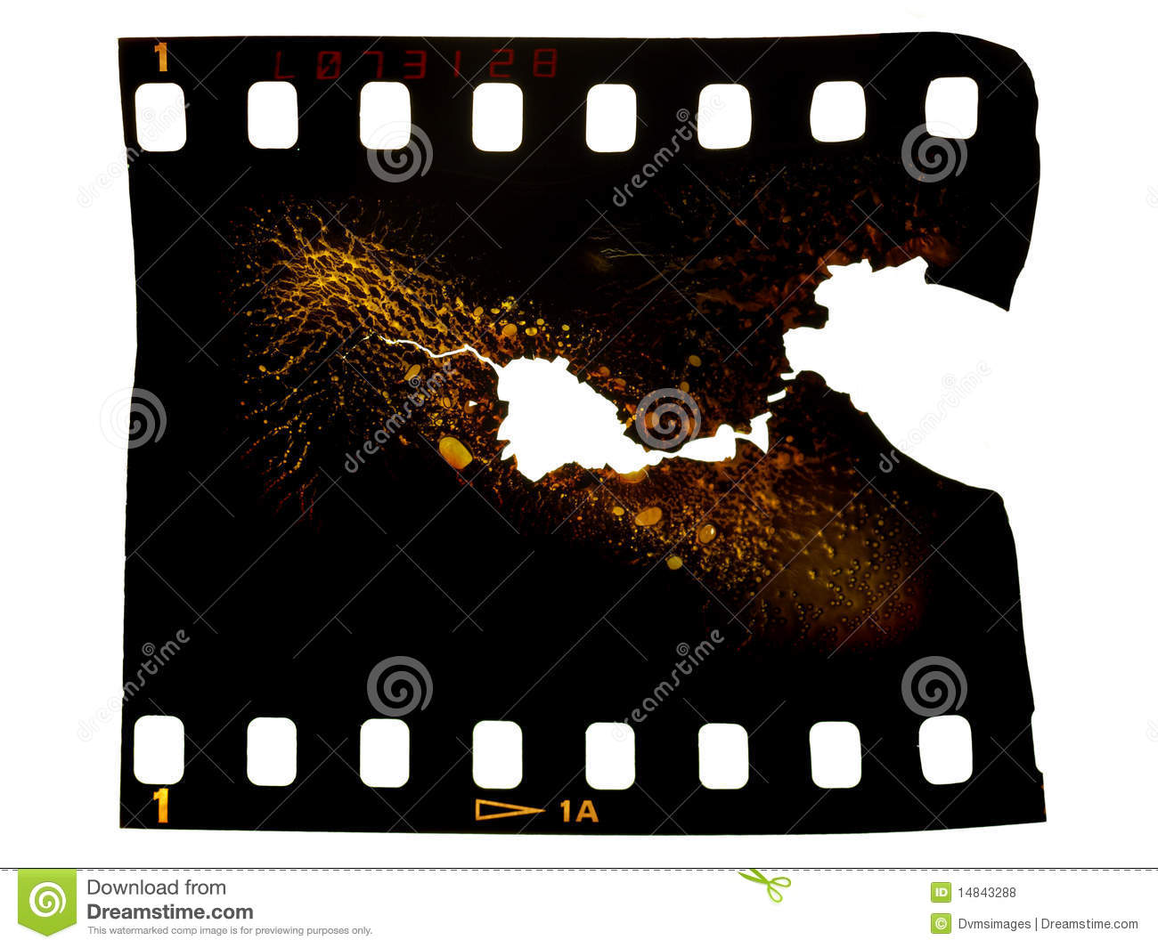 Burnt Photographic Film Frame Stock Photo - Image of holes, black ...