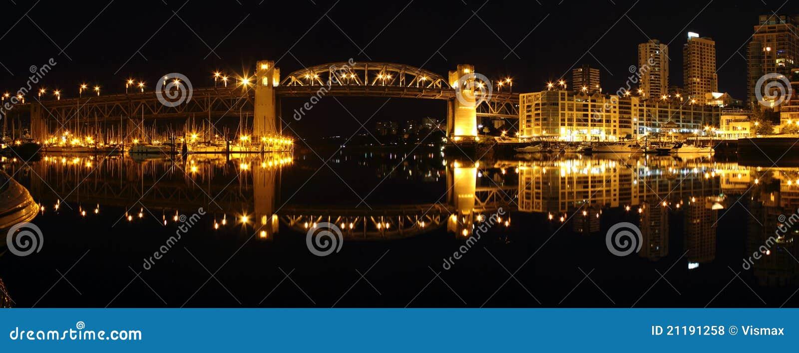 Burrard Bridge Night Panorama, Vancouver
