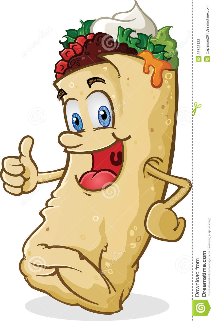 smiling mexican burrito character giving the thumbs up of approval!