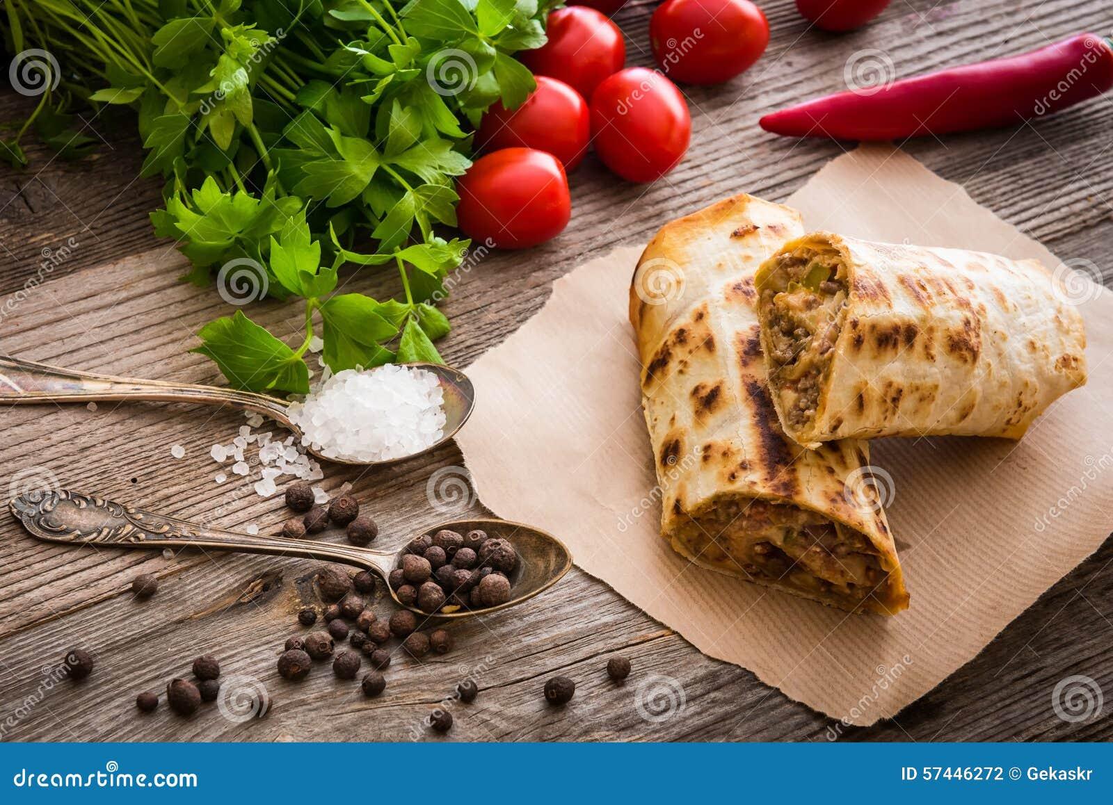 Burrito com vegetais