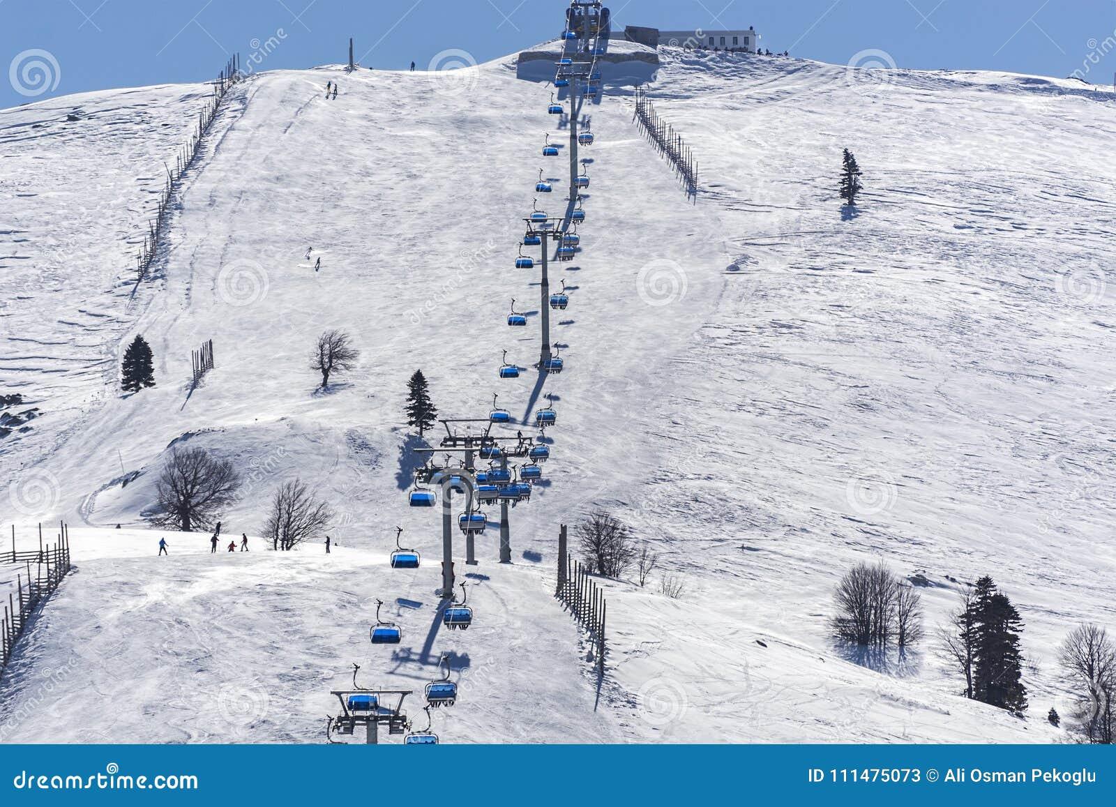uludag mountain view. uludag mountain is ski resort of turkey. stock