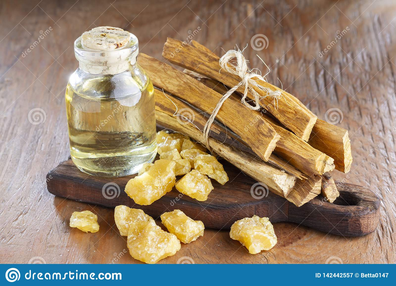 Sacred Wood `palo Santo` - Bursera Graveolens,on Rustic Wood