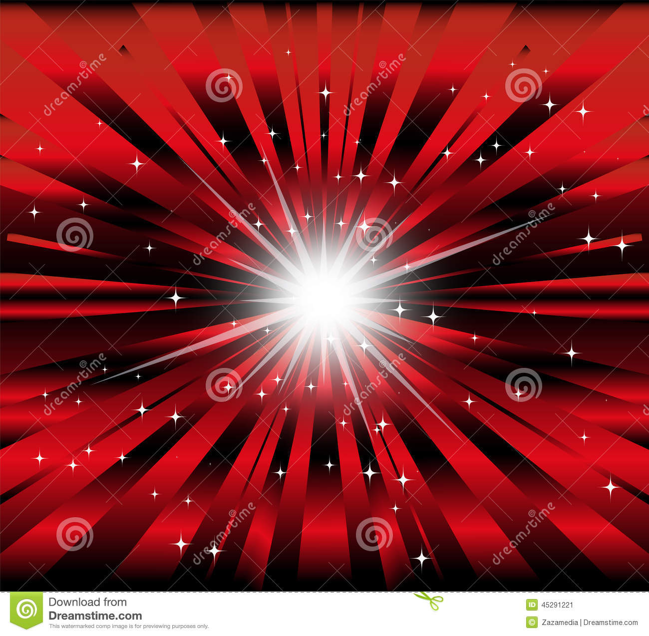 Burst Red And Black Background With Ray Star Light