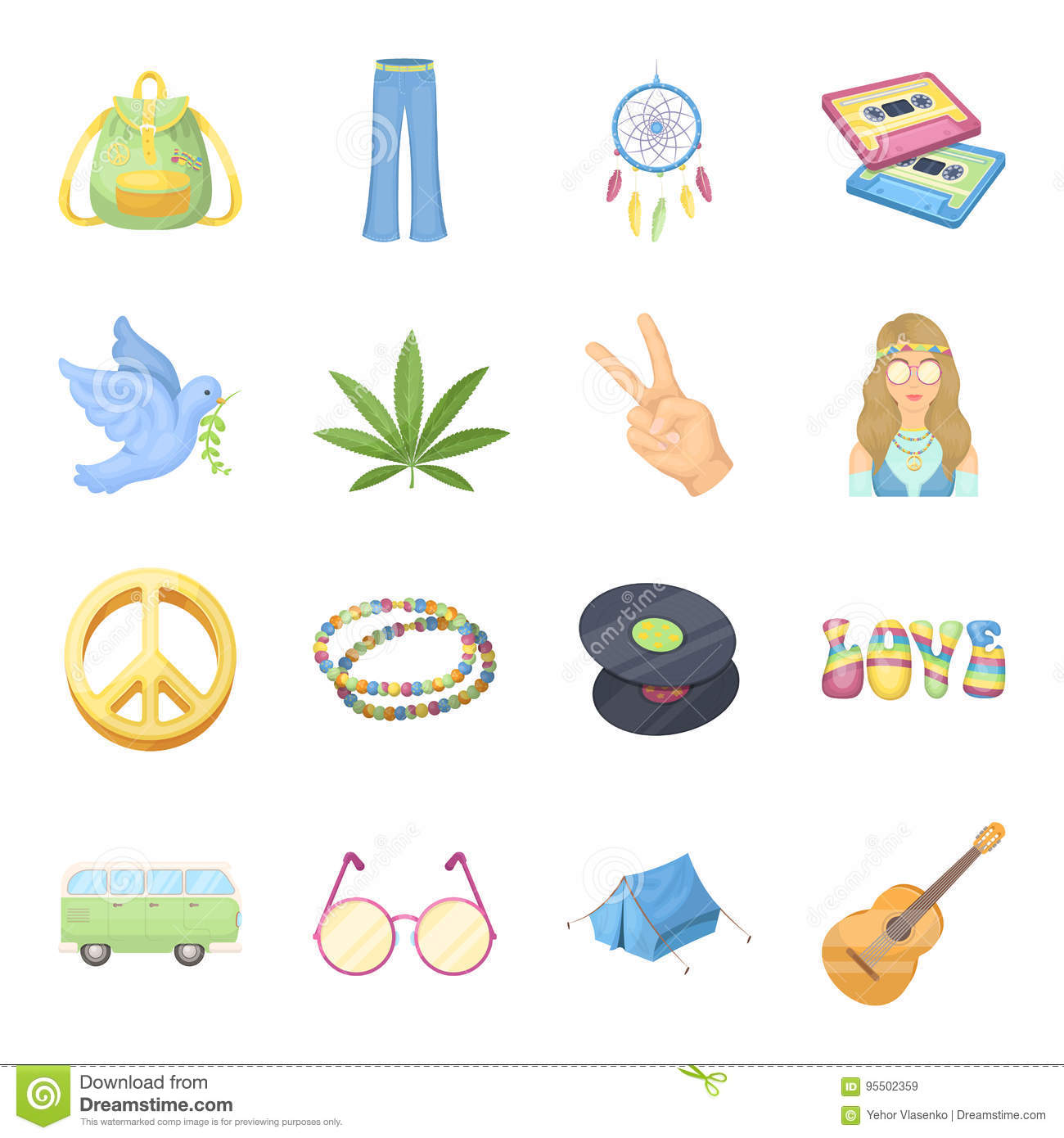aa15fd7fd9 Bus, backpack, beads and other hippy items. Hippie set collection icons in  cartoon