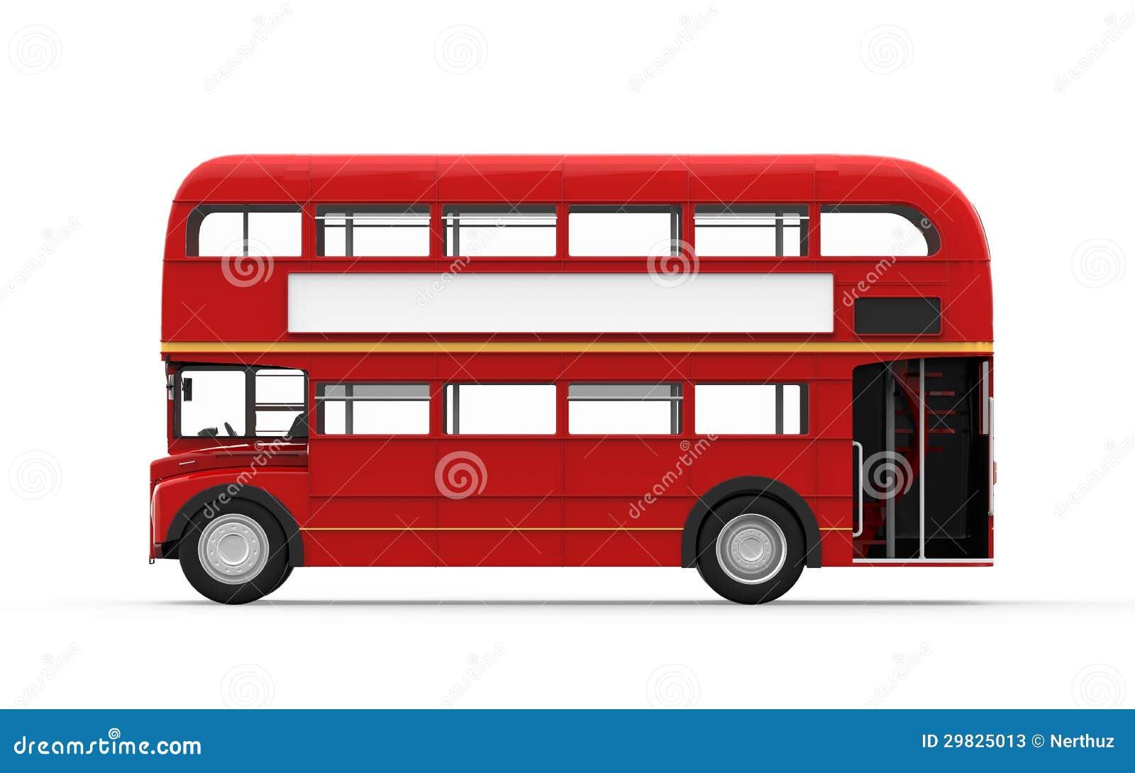 Bus di doppio ponte rosso isolato su fondo bianco