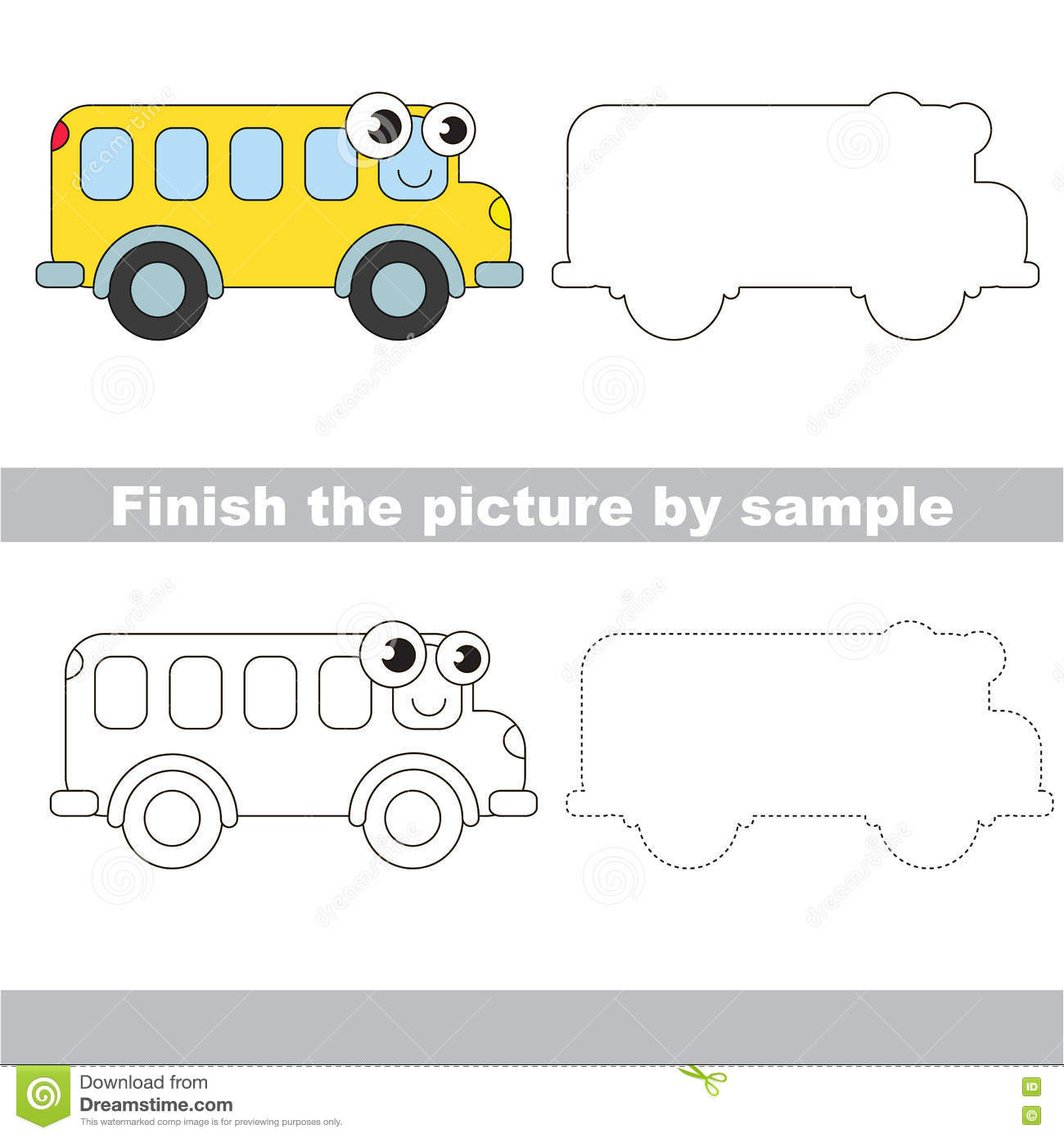 Bus Drawing Worksheet Stock Vector Illustration Of Gaming 75234022