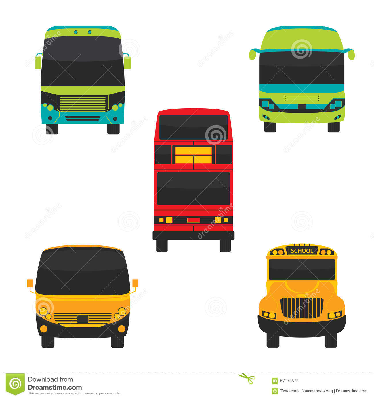 Bus Front And Transportation Vector Stock Vector ...