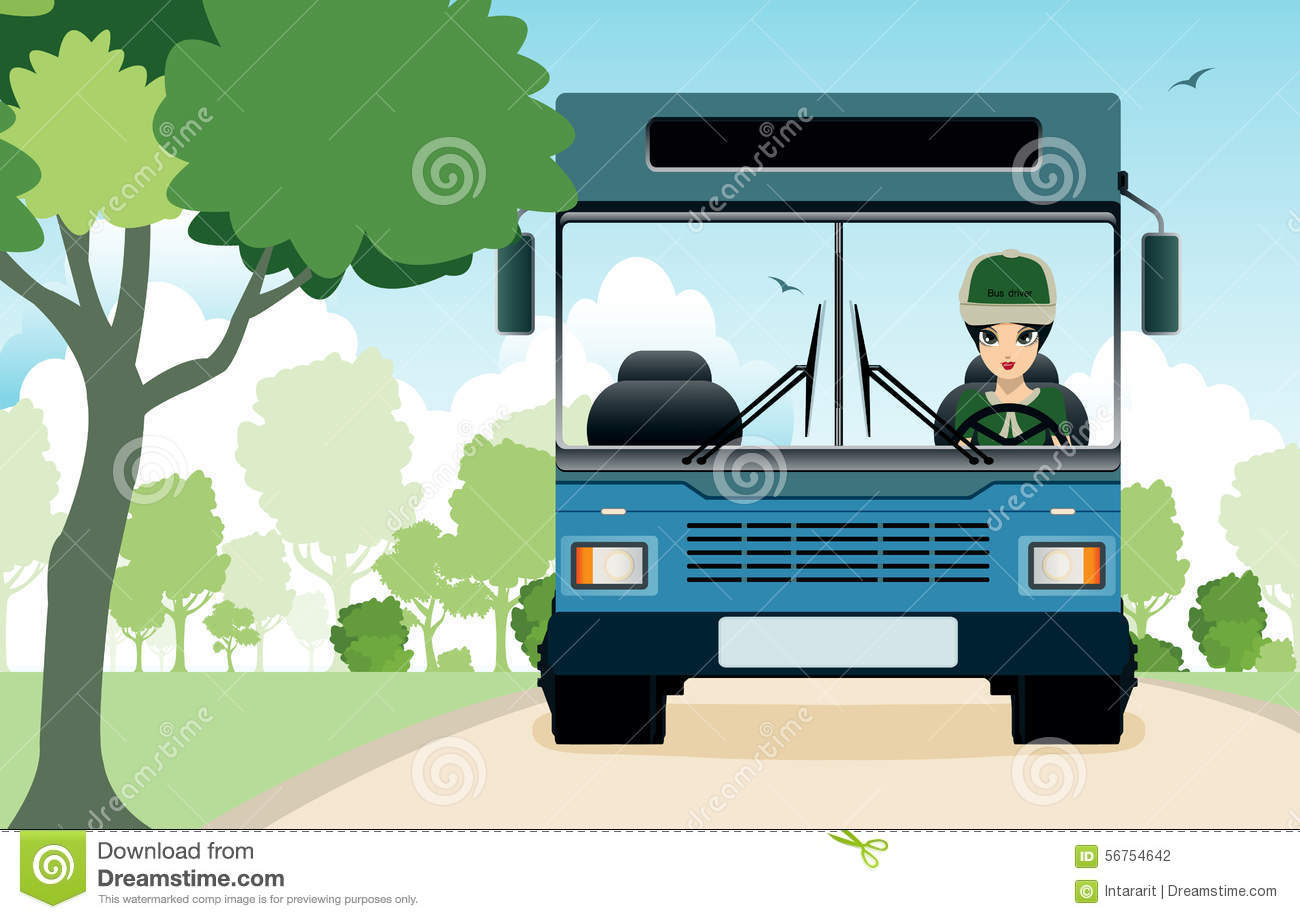 Bus In The Garden Stock Vector Image 56754642
