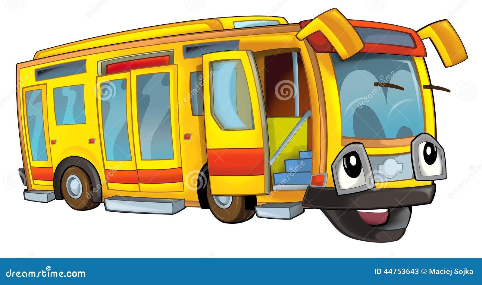 bus heureux de bande dessinée illustration stock
