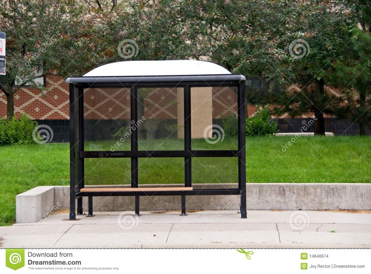 Bus Stop Bench Stock Photo Image Of Green Cement