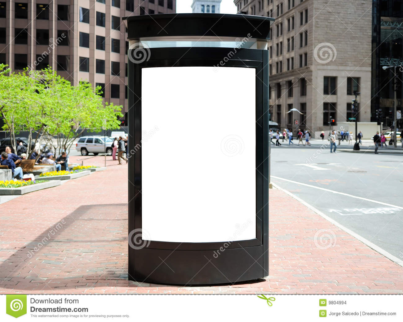Bus stop billboard in American city. Frontal view, people in the ...