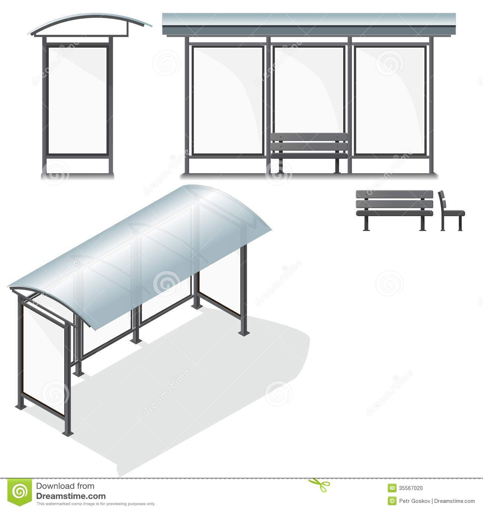 bus stop empty design template for branding stock photo