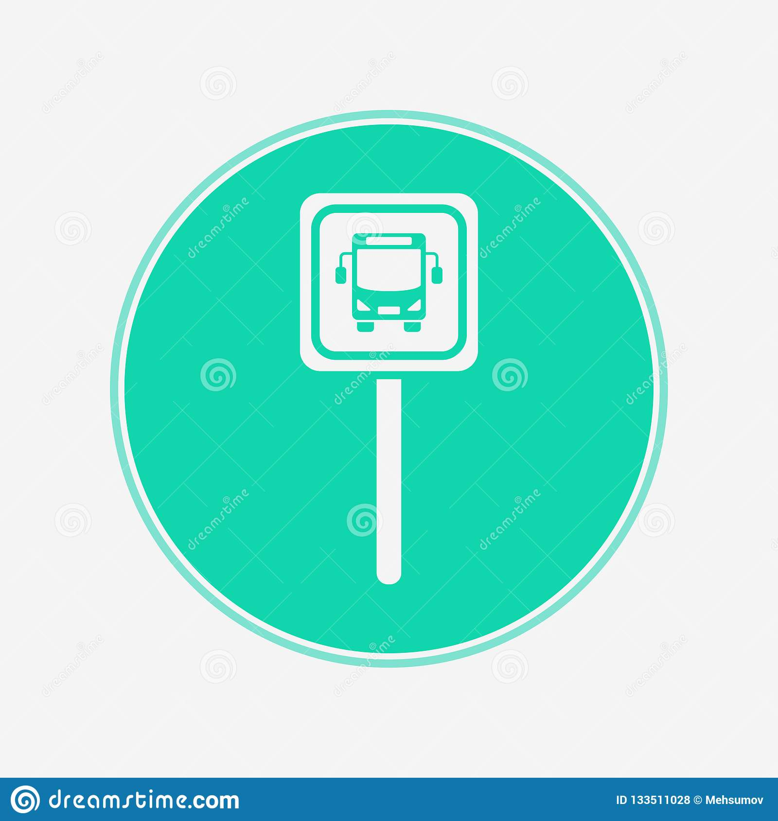 Bus Stop Vector Icon Sign Symbol Stock Vector Illustration Of Arrival Background 133511028