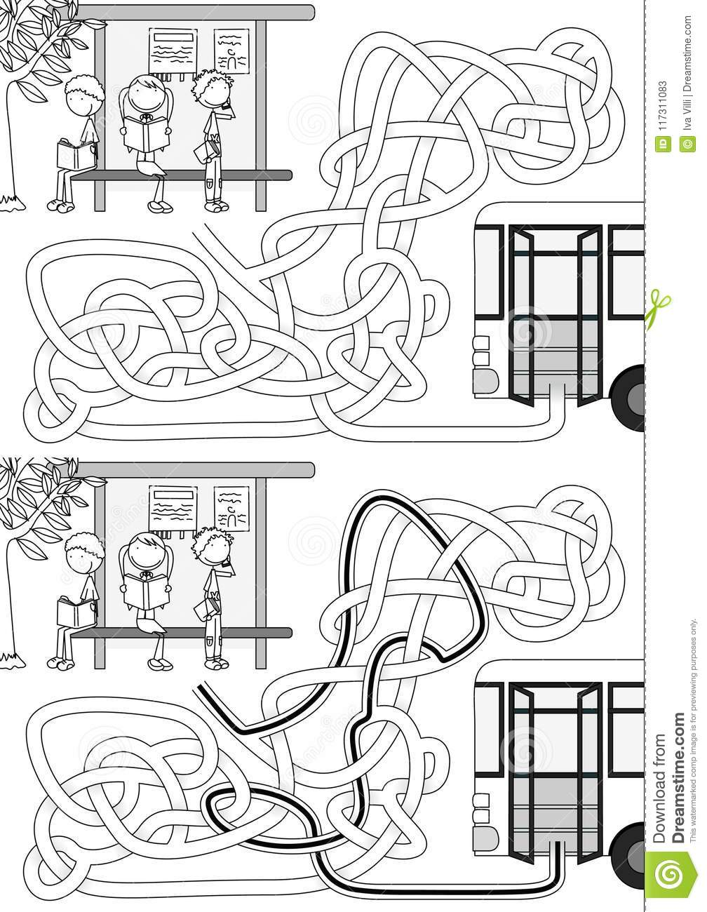 Bus Stop Maze Stock Vector Illustration Of Black Drawing 117311083