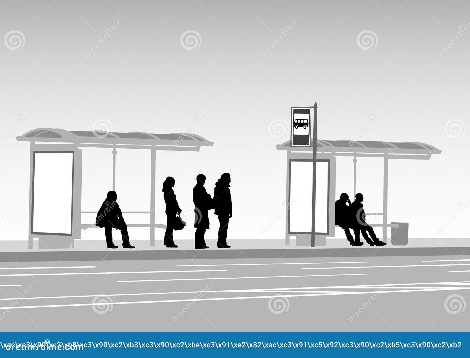 Bus stop people