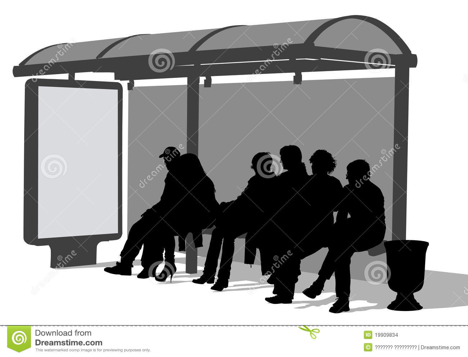 Bus Stop People Stock Illustration Illustration Of Passenger 19909834